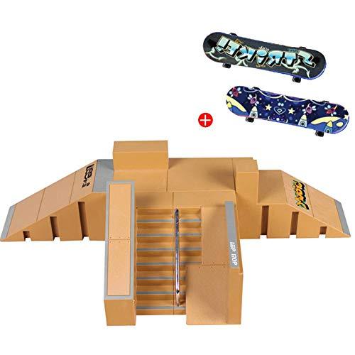 decaden Skate Park Kit Finger Skateboard Park Spielzeug Mini für Kinder Erwachsene Griffbrett Schienen Set