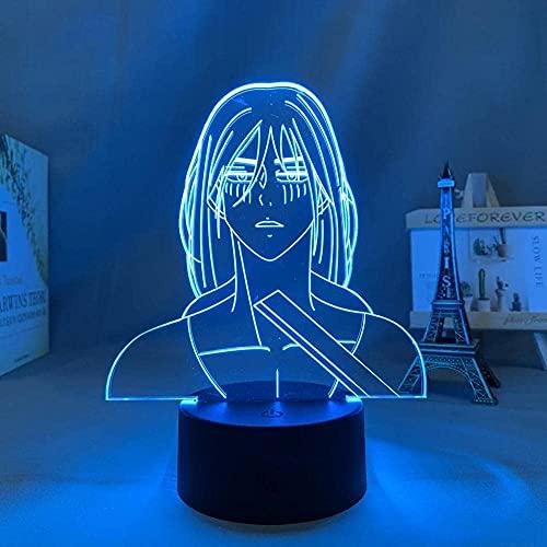 LED 3D Ilusión Lámparas de decoración Ataque a los titanes Anime japonés Manga Gadget ideal como regalo de cumpleaños para niños, niños y hombres Cambio de color colorido, con interfaz USB