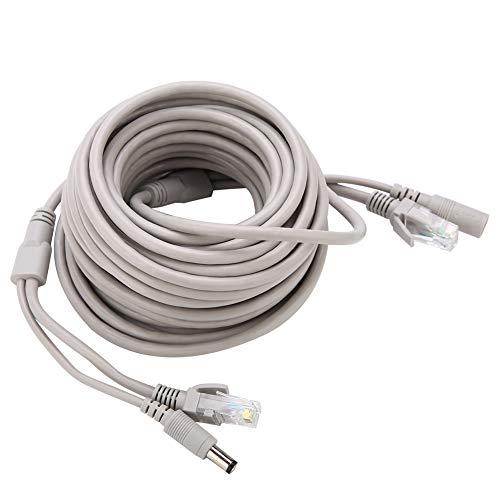 ASHATA RJ45+DC-Ethernet CCTV-kabel, 5,5 x 2,5 mm DC stroomstekker naar stopcontact aansluitkabel, 10/100 Mbps videobewaking CCTV Cat 5 verlengkabel voor IP-camera/NVR-systeem