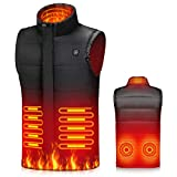 Kekilo Heated Vest for Men Women, Electric Thermal Heating Jacket USB Lightweight Body Warmer for Outdoor Fishing Hunting (Black, XXL)