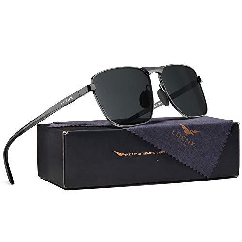 LUENX Herren Sonnenbrille Polarisierte Grau Linse- UV 400 Schutz Metall Grau Rahmen 63MM