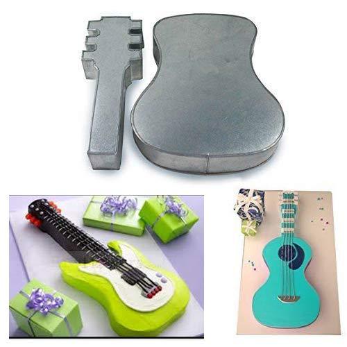 Molde grande de dos piezas con forma de guitarra para tarta de cumpleaños, diseño divertido, longitud 22,86 cm, ancho 27,94 cm, profundidad 5,08 cm