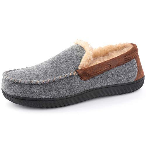RockDove Men's Hearthfire Memory Foam Moc Slipper, Size 11 US Men, Charcoal