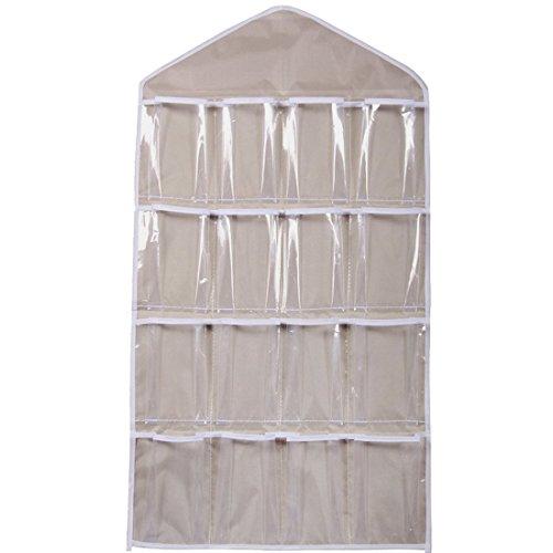 Luwu-Store 16 Pockets Clear Over Door Hanging Bag Schuh Rack Hanger Unterwäsche BH Socken Closet Storage Organizer (Beige)