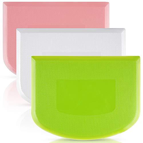 Cortadores de raspadores de masa,3 piezas de conjunto de cortadores plásticos flexibles de masa por pan, pizza & pastel, Herramientas de hornada por masa en casa/cocina –Verde/Blanco/Rosa