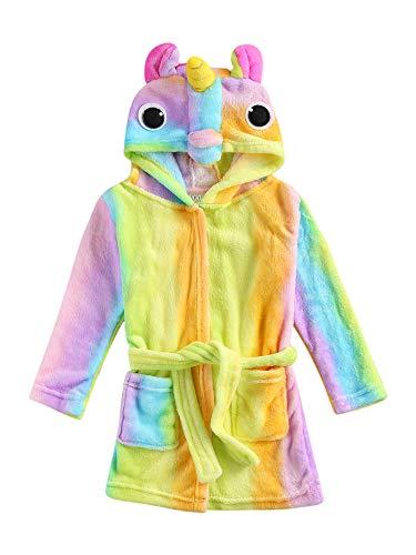 Albornoz unisex para niños, diseño de unicornio/arco iris, de franela suave con capucha, ropa de baño para el día de San Valentín