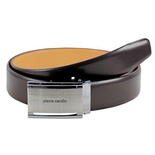 Pierre Cardin leather belt men/belt men, leather belt curved with plate buckle, black/brown, Größe/Size:115, Farbe/Color:marron