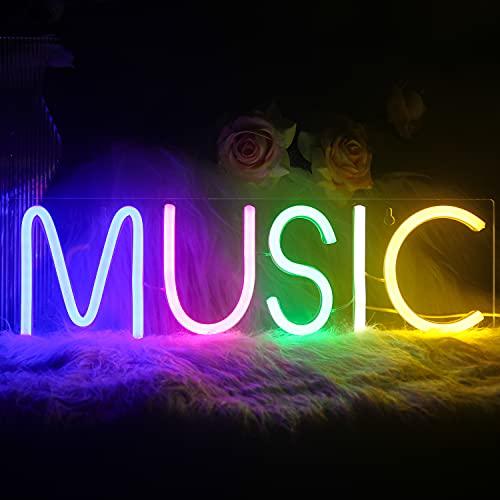 Luz de neón Música Letrero de neón para decoración de pared Letras coloridas Luces de neón Letrero Música Palabra LED Neón para dormitorio Sala de juegos Club Bar Decoración de fiesta