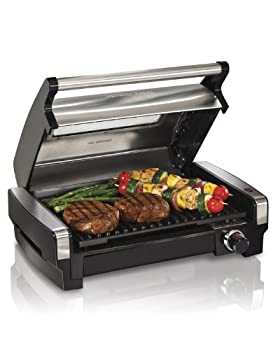 Hamilton Beach Electric Indoor Searing Grill with Viewing Window and Removable Easy-to-Clean Nonstick Plate 6-Serving Extra-Large Drip Tray Stainless Steel  25361