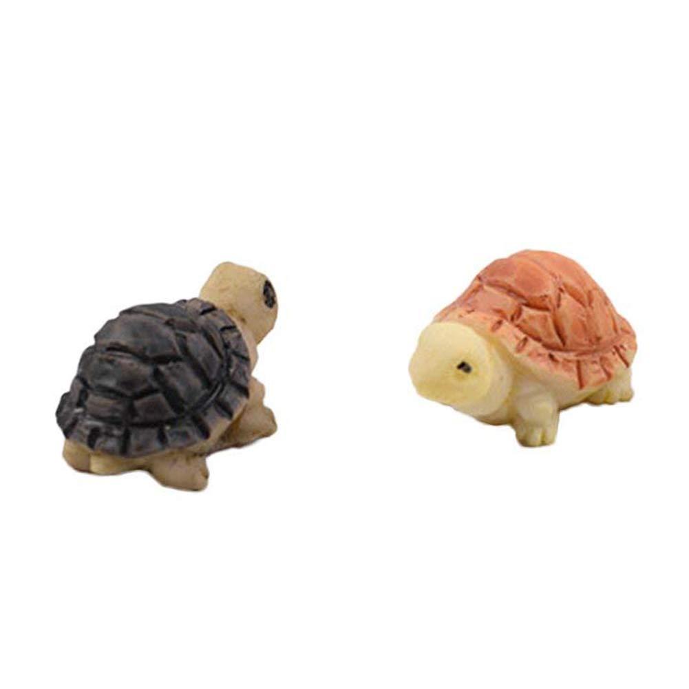 2Pcs Mini Turtles Fairy Garden Miniature DIY Micro Landscape Ornament Decor Toy