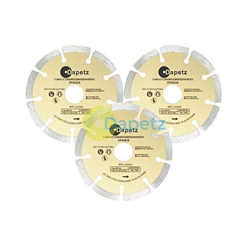 EFG Lot de 3 disques diamant pour meuleuse d'angle – 115 mm - Pour pierre/béton/brique