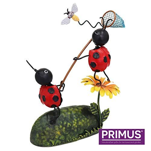 Primus Décoration de jardin en métal Motif coccinelles attrapant libellule