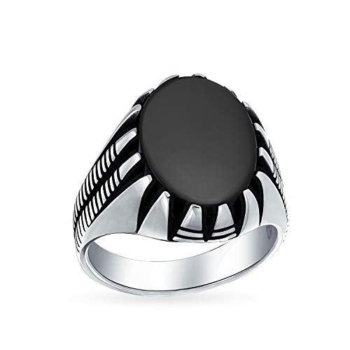 Mens Claw Set Large Oval Cabochon Gemstone Black Onyx Signet Ring For Men Solid Oxidized 925 Silver Handmade In Turkey