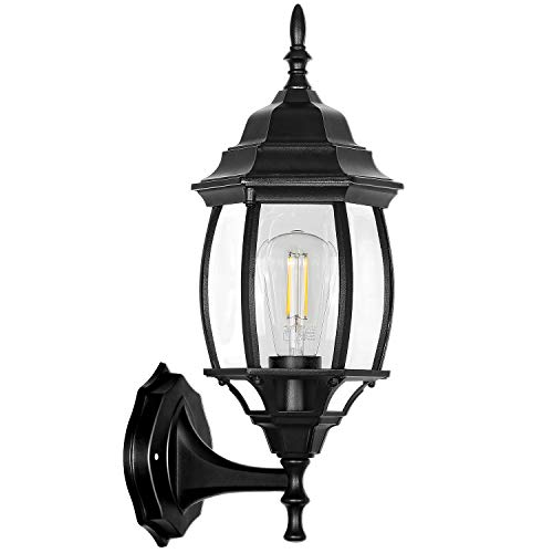 Outdoor Wall Lantern, Die-Cast Aluminium Porch Light Fixtures, Architectural Wall Sconce for Front Door, Backyard and Patio, Matte Black with Bevelled Glass Panels, ETL Listed