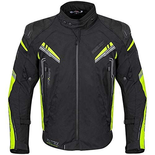 Germot Herren Motorrad-Textiljacke Matrix, wind- und wasserdicht, Blouson, schwarz/gelb, L