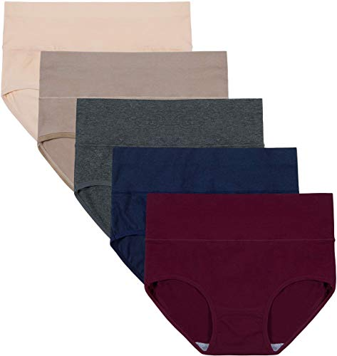 INNERSY Unterwäsche Frauen Bauchweg Unterhose Damen Slips Mehrpack Bauwolle Hohe Taille Panties, 3XL, Color 5f