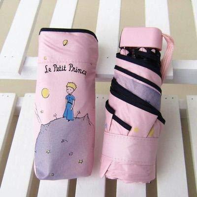 MAWA Dibujos Animados pequeño príncipe Paraguas Lluvia Mujeres Paraguas Plegable Mujer soleada Parasol Lindo Mini Paraguas de Bolsillo - príncipe Rosa