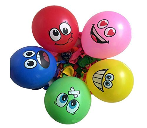 Jeffyo - Globo de Colores Surtidos, 30 cm de látex, patrón de Dibujos Animados, diseño de Cara Sonriente