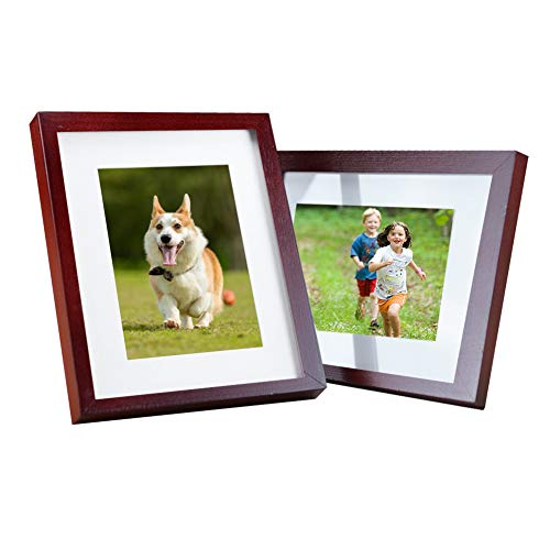 Jaoul 11x14 2 Pack of Photo Picture Frame Solid Wood Glass Front for Tabletop Display and Wall Mounting, Ruby