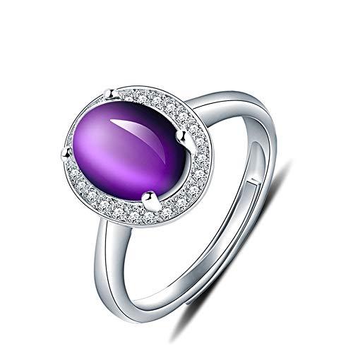 JIAXUN Ring aus 925er Sterlingsilber mit einstellbarem Amethystring mit Diamante