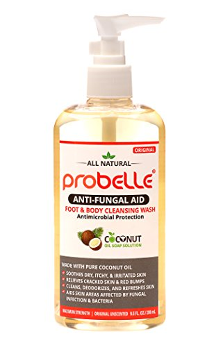 Probelle Antifungal Soap from Pure Coconut Oil with Antimicrobial Protection. Aids Skin Areas Affected by Fungal Infection & Bacteria. Maximum Strength, Original Unscented. 9.5 oz/ 280 mL