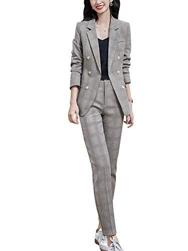 Womens Business Work Suit Set Blazer Pants for Office Lady Suit Set Slim Fit Blazer Pant (23-Yellow, S)