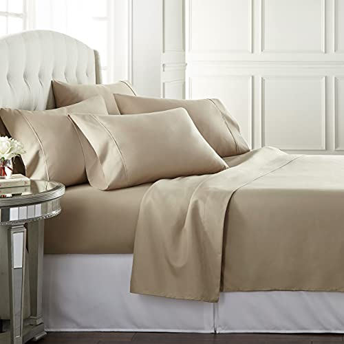Danjor Linens Full Size Bed Sheets Set - 1800 Series 6 Piece Bedding Sheet & Pillowcases Sets w/ Deep Pockets - Fade Resistant & Machine Washable - Taupe