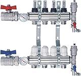 SANITLINE Distributore circuito riscaldamento con flussometro Topmeter, valvole a sfera, termometro NORDIC- 4 circuiti riscaldamento