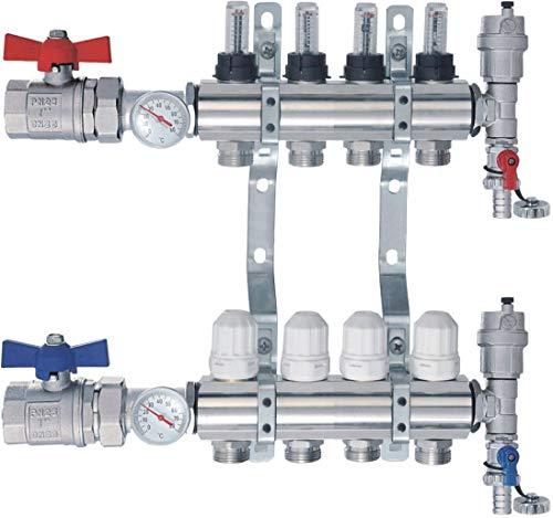 SANITLINE Distribuidor de circuito de calefacción con caudalímetro Topmetro, válvulas de bola, termómetro NORDIC - 4 circuitos de calefacción