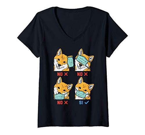 Mujer Shiba Inu Perro Mascara Cuarentena Gracioso Akita Inu Regalo Camiseta Cuello V