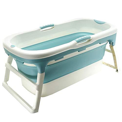 JQXB Erwachsene Faltbadewanne, Tragbare Badewanne, Kunststoff Spa Wannenbad Anti-Rutsch Isolierung, Mit Deckel,Blau,A
