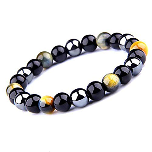 Tiger's Eye Triple Protection Bracelet Hematite Beads & Black Obsidian by UEUC