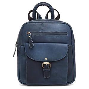 41tAwPYvz4L. SS300  - Mochila de mujer J Wilson London de cuero mochila para mujeres niñas mochila escolar casual mochila escolar bolso de la escuela Azul azul vintage medium