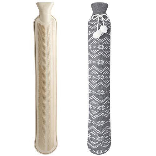Homealexa Lange Wärmflasche mit weichem Bezug 2 Liter, Schlauch-Wärmflasche für Nacken und Schulter, 73 x 13cm Nackenwärmflasche mit Schneeflocken Muster Strickbezug (Grau 2)