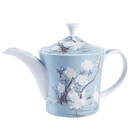 fanquare 27 oz Azul Cafetera de Fine Bone China, Tetera de Porcelana con Diseño de Grulla Blanca y Flores