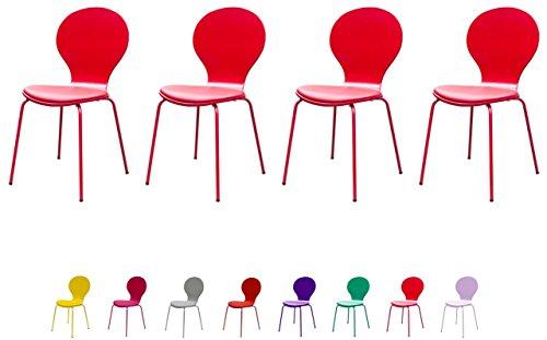 Tenzo FLOWER Designer Lot de 4 chaises avec coussin, Acier, Tulipe, 46 x 57 x 87 cm