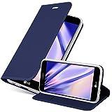 Cadorabo Funda Libro para LG K10 2017 en Classy Azul Oscuro - Cubierta Proteccíon con Cierre Magnético, Tarjetero y Función de Suporte - Etui Case Cover Carcasa