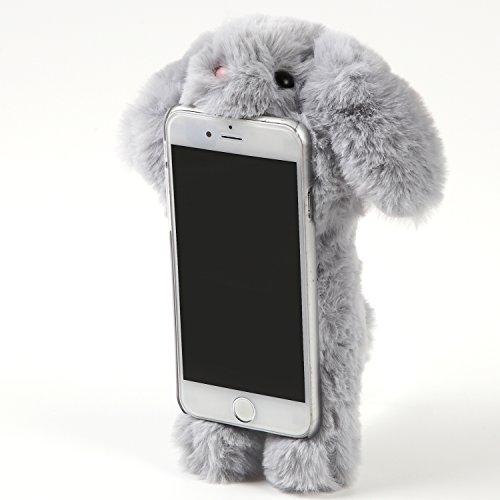 Beau Village(ボー・ヴィラージュ)iphone7,iphone8 ケース カバー 衝撃吸収【インスタ映え 抜群】ふわふわ もこもこ 超かわいい 3D 立体 ロップイヤー ラビット ファー うさぎ ぬいぐるみ 360°回転 スタンド機能 スマホケース 保護カバー (iPhone7/8, グレー)