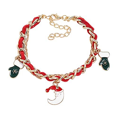 Natale Braccialetto Perline Ciondolo Charm Bracciale con Regalo Scatola Saluto Biglietto Regalo per Donna Signora