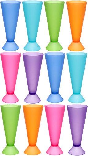 idea-station NEO Kunststoff-Cocktail-Becher 12 Stück, 300 ml, bunt, farbig, mehrweg, bruchsicher, EIS-Becher, Eiskaffee-Gläser, Wasser-Gläser, Cocktail-Gläser, Party-Becher
