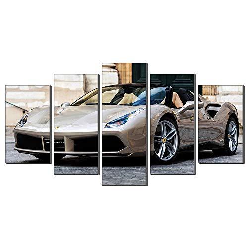 Five-Seller muurkunst champagne Super sportwagen van Ferrari canvas schilderij schilderij schilderij schilderij op canvas kunstwerk voor hoofddecoratie woonkamer, 5 panelen 50 x 100 cm met frame