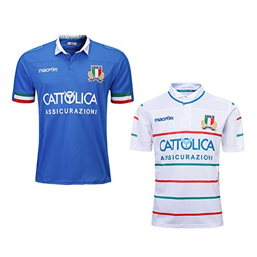 JUNBABY 2019 Italien Rugby Trikot, Heim und Auswärts Herren Fußball T-Shirt Rugby Polo Hemd-Blue-XXL