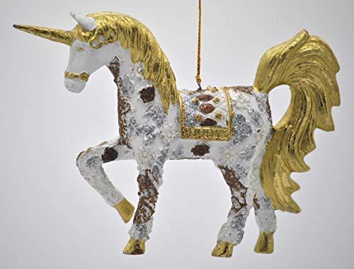 crafts & design Bezauberndes Einhorn, Deko Hänger weiß/Gold, Verzierungen, Christbaumschmuck 15 cm