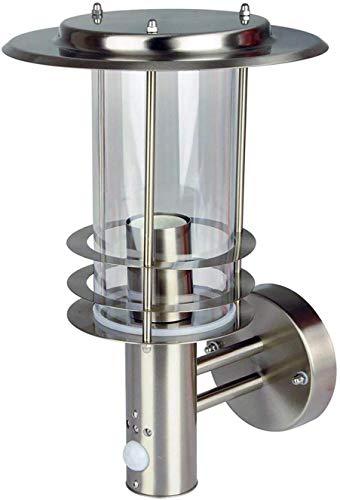 Grafner Design Edelstahl Wandlampe mit Bewegungsmelder, 1x E27 Fassung, IP44, 360° rundum Lichtschein, für außen und innen, Wandleuchte Lampe Außen Hoflampe PIR