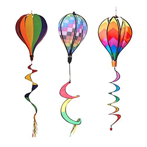 Homyl 3 Stück Bunte Windspiration Heißluftballon Windsock Garten Windspiel Dekoration - 140 x 25cm