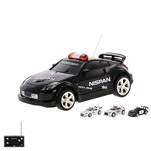 RC teledirigido Mini Policía Auto Vehículo en 1: 58 Escala con control remoto y coolem sirena y función de luz, Auto con con batería integrada