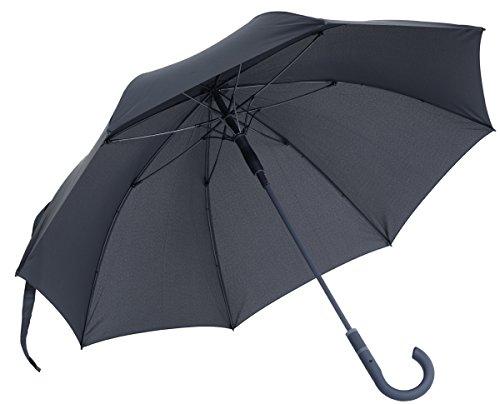 vanVerden - Automatik Regenschirm - Sturmfest (TÜV geprüft), Windfest, Leicht, Stabil - Fiberglas Rahmen 112cm Durchmesser, 90cm Länge, Farbe:Anthracite/Grey