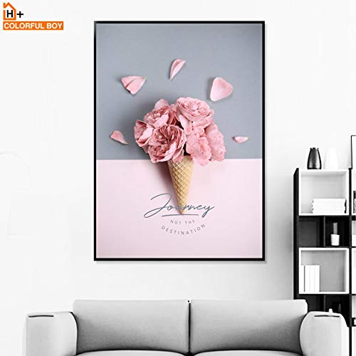 KWzEQ Girl Paris Ice Tower Rose Cream Canvas Flower Wall Art Painting Poster Nordic Mural Living Room Decoration-Frameless painting30X40cm