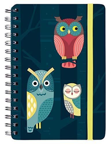 Notizbuch Nachteulen mit Spiralbindung | auch als Tagebuch geeignet | DIN A5 | 150 Seiten, liniert