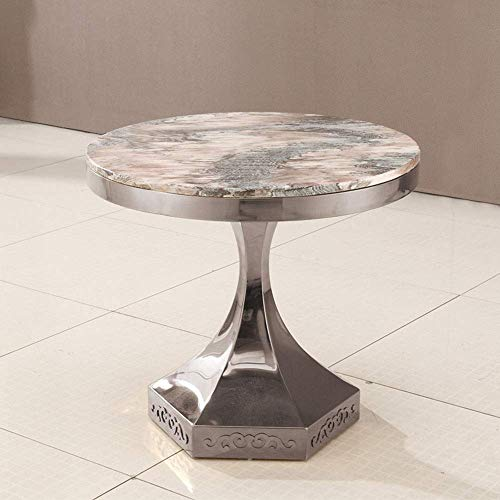 Hemmöbler, runda marmor sidobord fritid soffbord matbord mötesbord sängbord 60 * 53,5 cm (färg: silver)